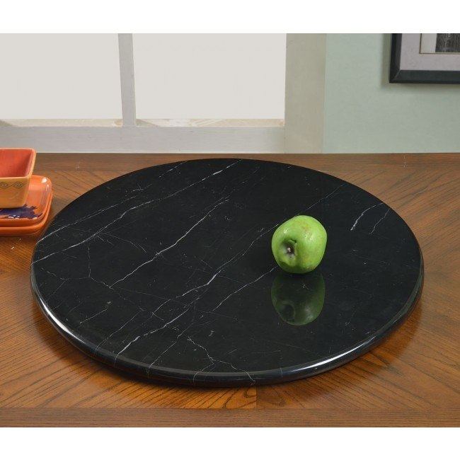 24 Inch Round Black Marble Lazy Susan Chintaly Imports Furniture Cart