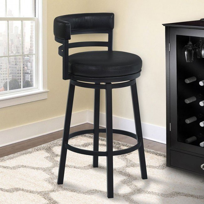 Amazing Madrid Bar Height Metal Swivel Barstool Black Dailytribune Chair Design For Home Dailytribuneorg
