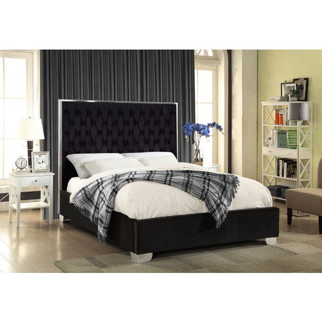 Lexi Upholstered Platform Bed Black Meridian Furniture Furniture Cart