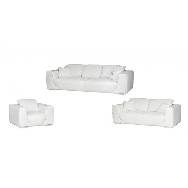 Mia Bella Sophia Leather Living Room Set (White)