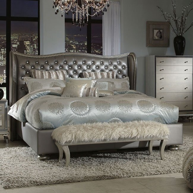 Hollywood Swank Bed Metallic Graphite Aico Furniture 1 Reviews Furniture Cart