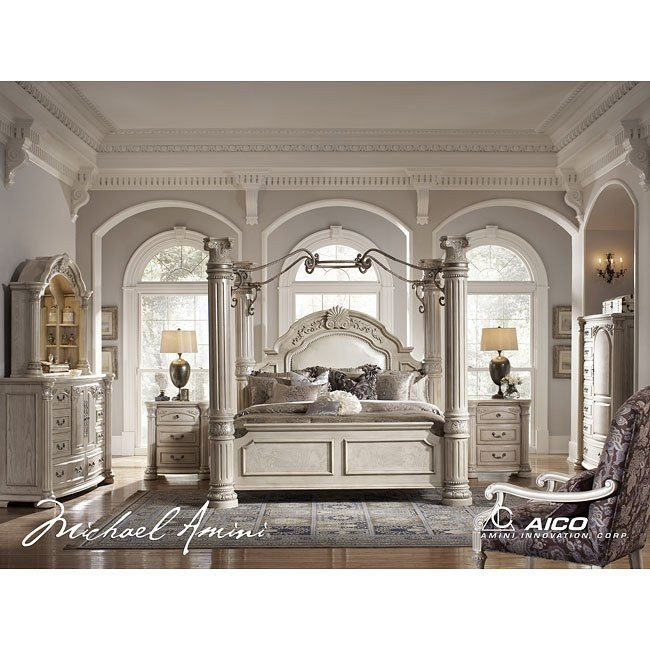 Monte Carlo II Canopy Poster Bedroom Set (Silver Pearl)