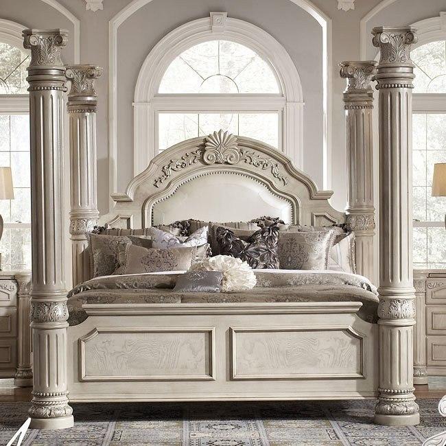 Monte Carlo II Poster Bed (Silver Pearl) Aico Furniture ...