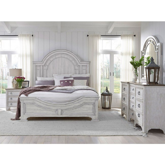 Glendale Estates Panel Bedroom Set Distressed White Pulaski