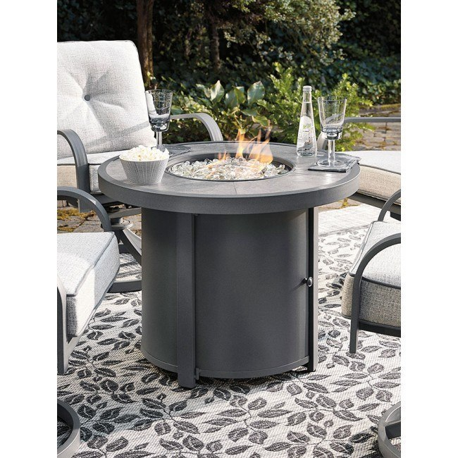Donnalee Bay Outdoor Round Fire Pit Table Signature Design Furniture Cart