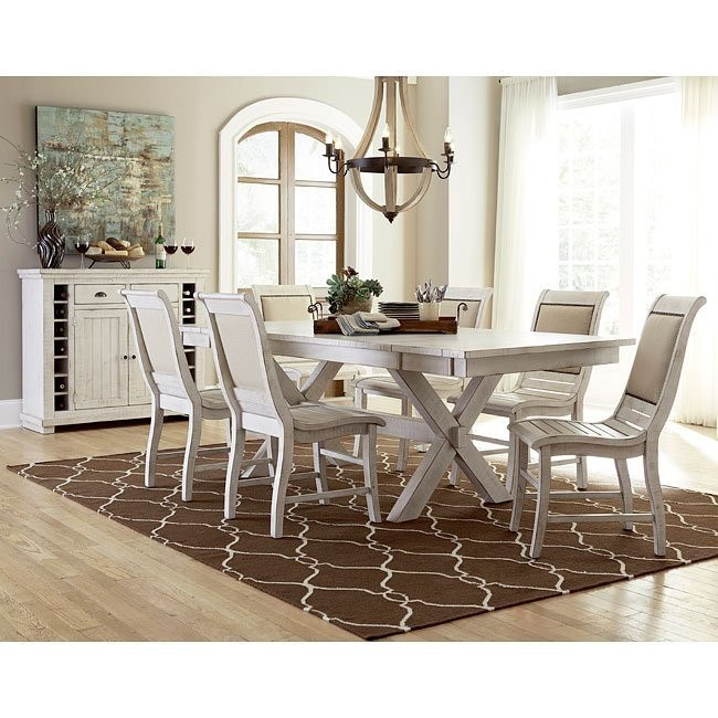distressed white dining room furniture | Willow Rectangular Dining Room Set W/ Upholstered Chairs ...