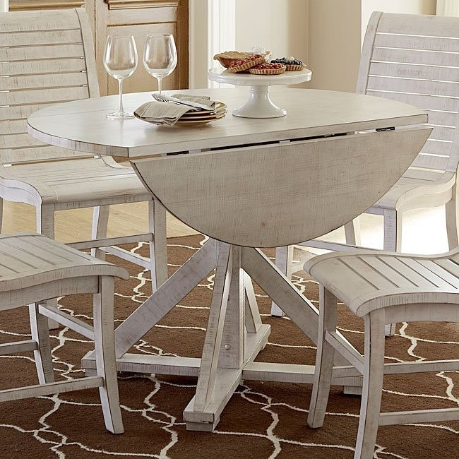Willow Round Dining Table Distressed White Progressive Furniture Furniture Cart