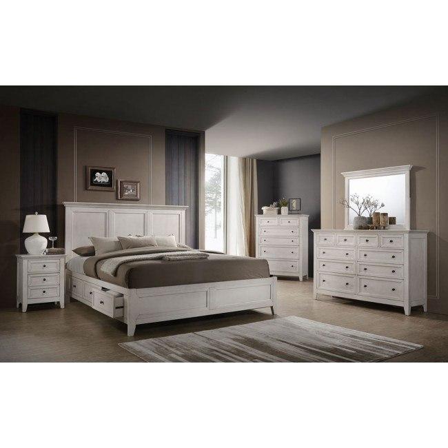 San Mateo Storage Bedroom Set (Rustic White)