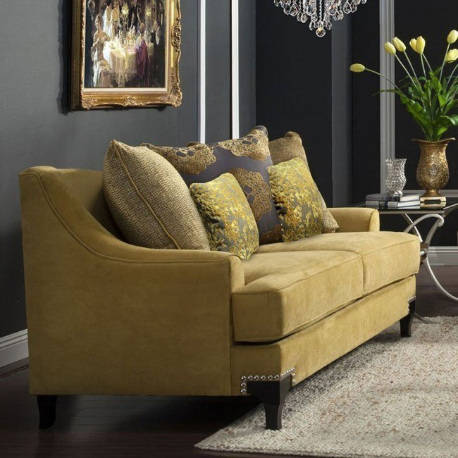 Pleasing Viscontti Loveseat Gold Bralicious Painted Fabric Chair Ideas Braliciousco