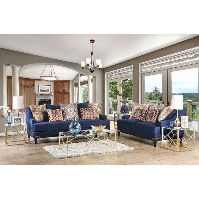 Sisseton Living Room Set (Navy)