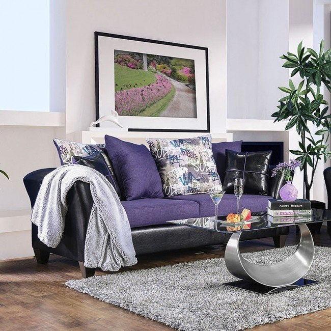 Kaelyn Sofa Black Purple Furniture