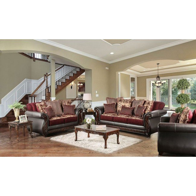 Franklin Living Room Set (Burgundy)
