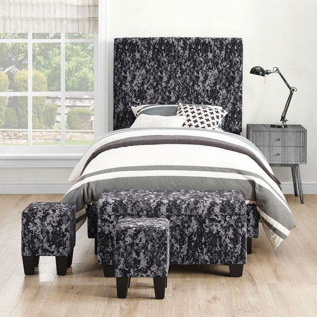 Fort Hood Twin Upholstered Bed W Ottomans Digi Camo Gray Elements Furniture Furniture Cart