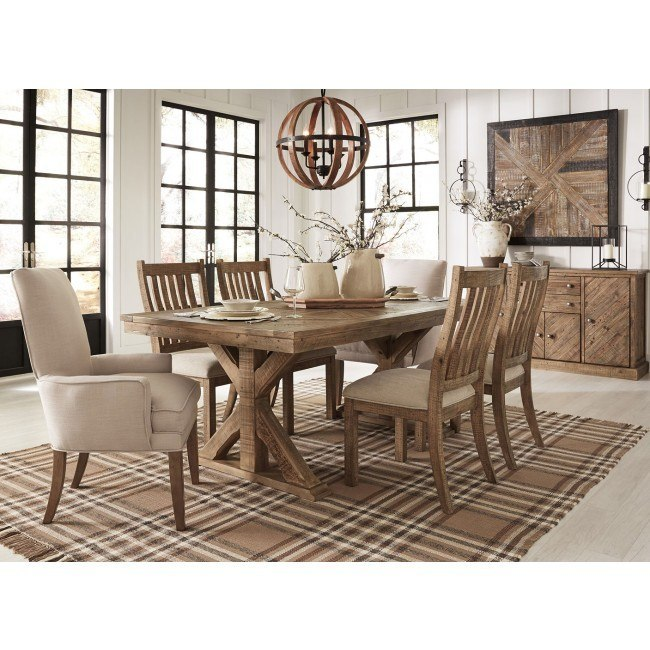 Grindleburg Dining Room Set W Light Brown Chairs Signature Design Furniture Cart