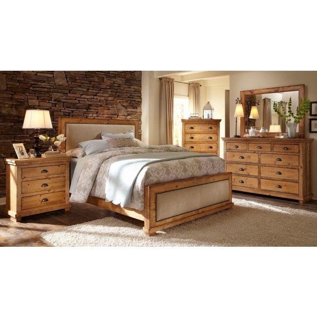 Willow Upholstered Bedroom Set Distressed Pine Progressive