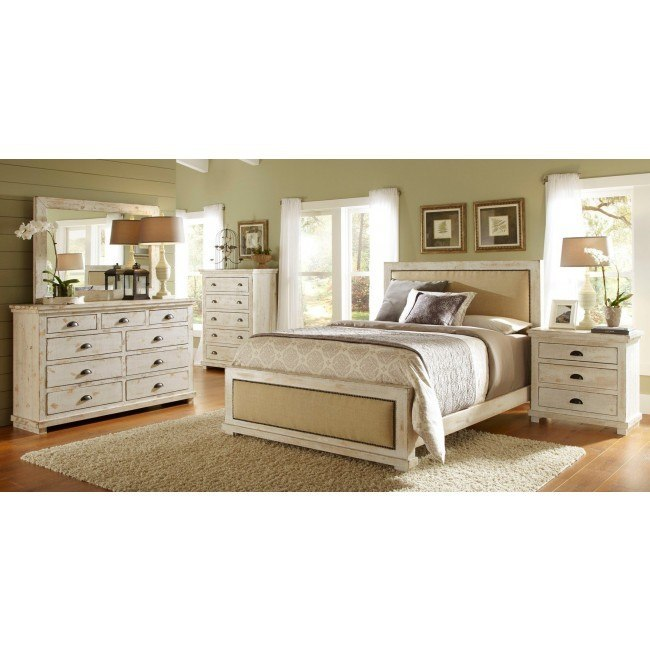 Willow Upholstered Bedroom Set Distressed White Progressive