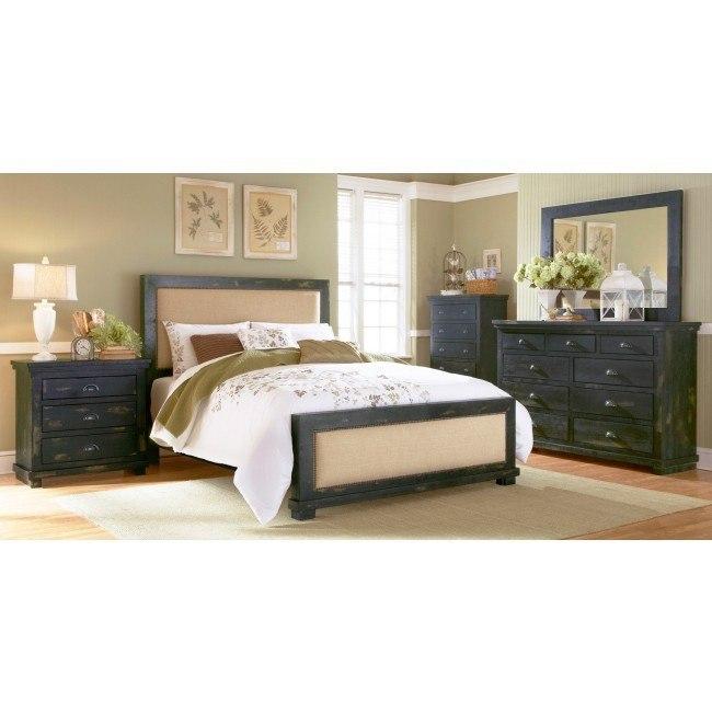 Willow Slat Bedroom Set (Distressed Black)