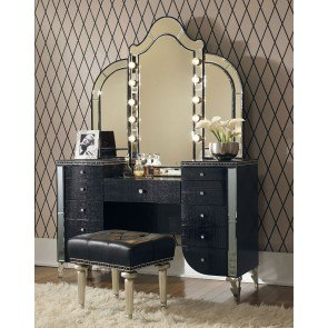Superbe Hollywood Swank Vanity W/ Mirror (Black Iguana)