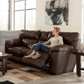 Voyager Lay Flat Reclining Console Loveseat Elk