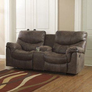 Climax Iceberg Dual Glider Reclining Loveseat W Console