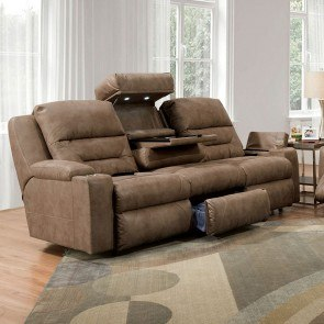 Memphis Brown Reclining Sofa W Power Millennium