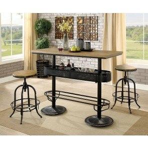 Moriann Bar Table Set W Beige Wing Back Barstools