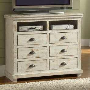 Willow Media Chest Distressed White