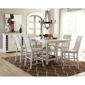 Willow Rectangular Counter Height Dining Set (Distressed White)