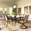 Burnella Outdoor Rectangular Dining Set w/ Bass Lake Chairs