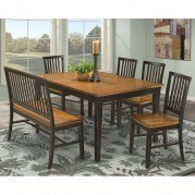 Arlington Dining Room Set w/ Slat Chairs (Black/Java)
