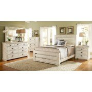 Willow Slat Bedroom Set (Distressed White)