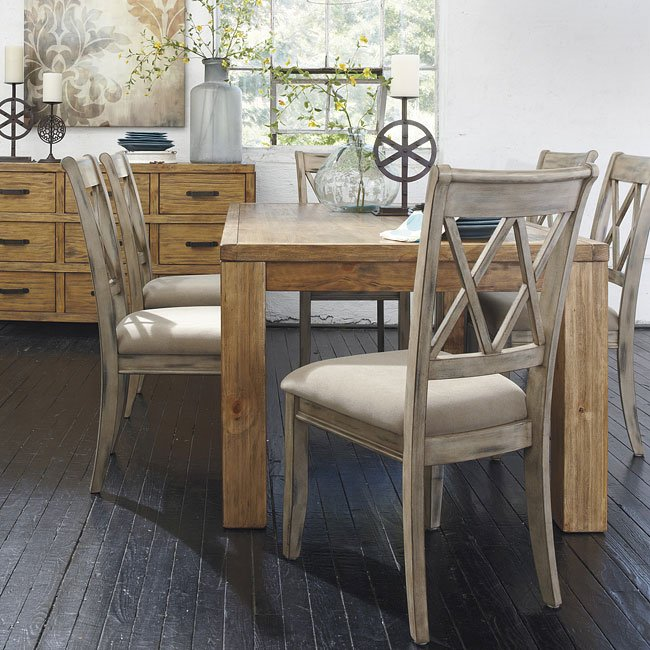 Mestler Aged Bisque/ Honey Pine Dining Set
