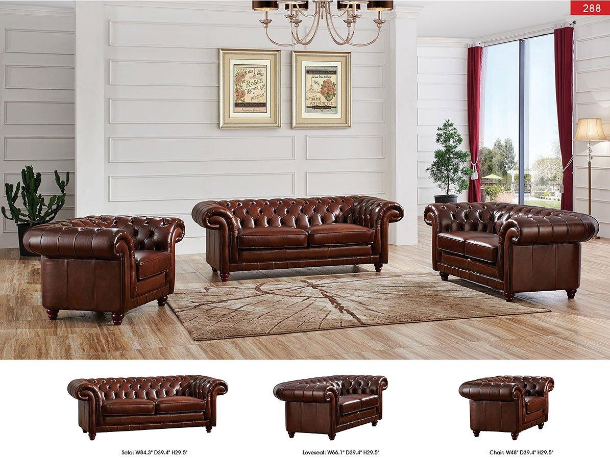 288 Tufted Brown Living Room Set Esf Furniture Furniture Cart
