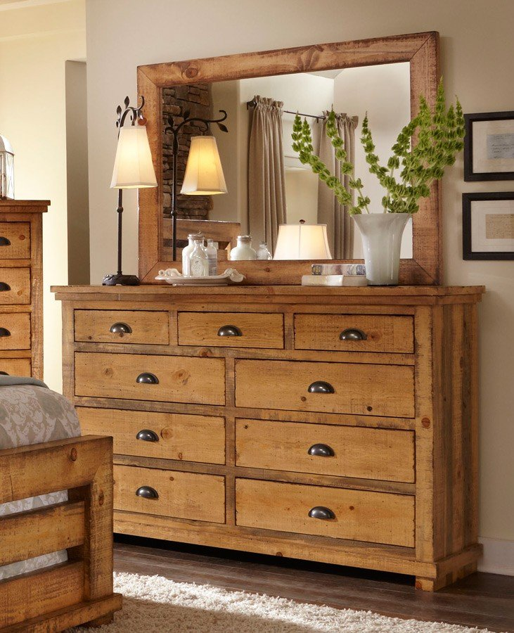 Willow Upholstered Bedroom Set Distressed Pine