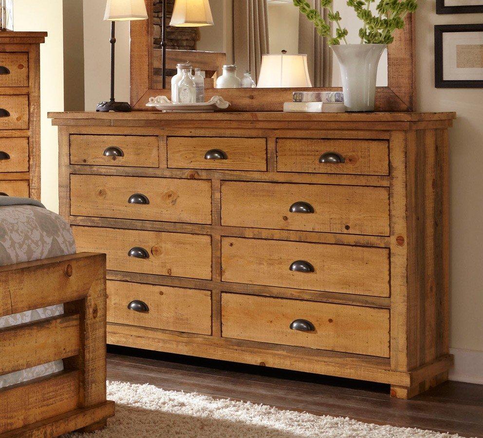 Pine Bedroom Furniture: Willow Slat Bedroom Set (Distressed Pine) Progressive