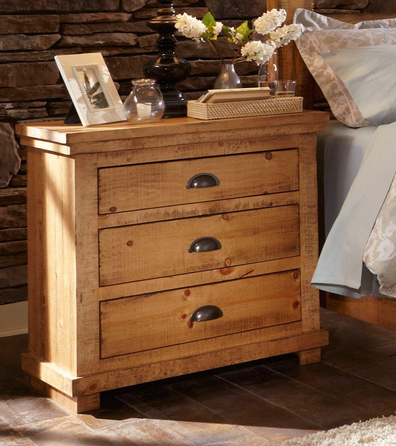 Willow nightstand distressed pine progressive furniture 4 reviews furniture cart for Distressed pine bedroom furniture
