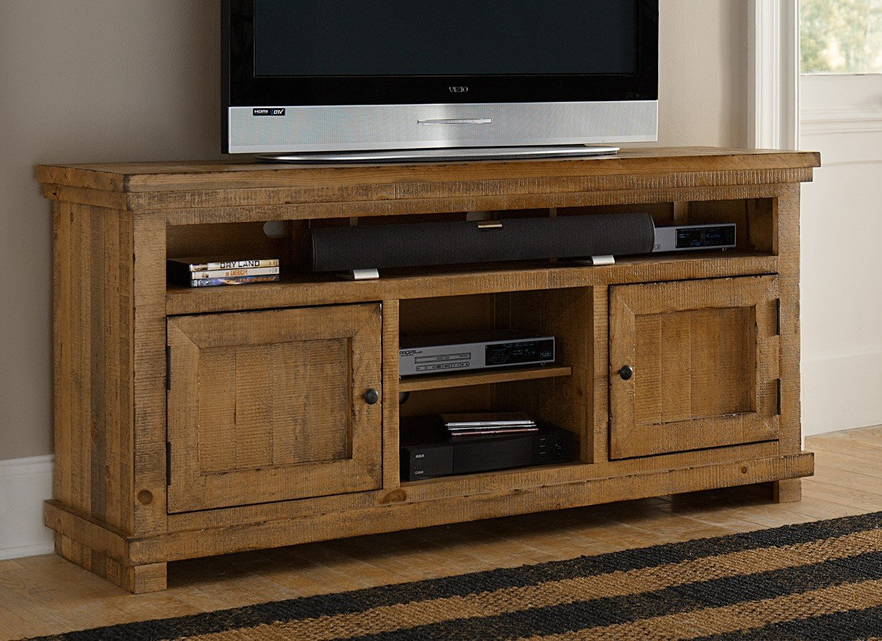 Willow 64 Inch Entertainment Console Distressed Pine