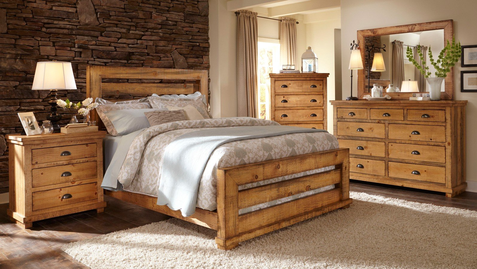 Willow Slat Bedroom Set (Distressed Pine) Progressive ...