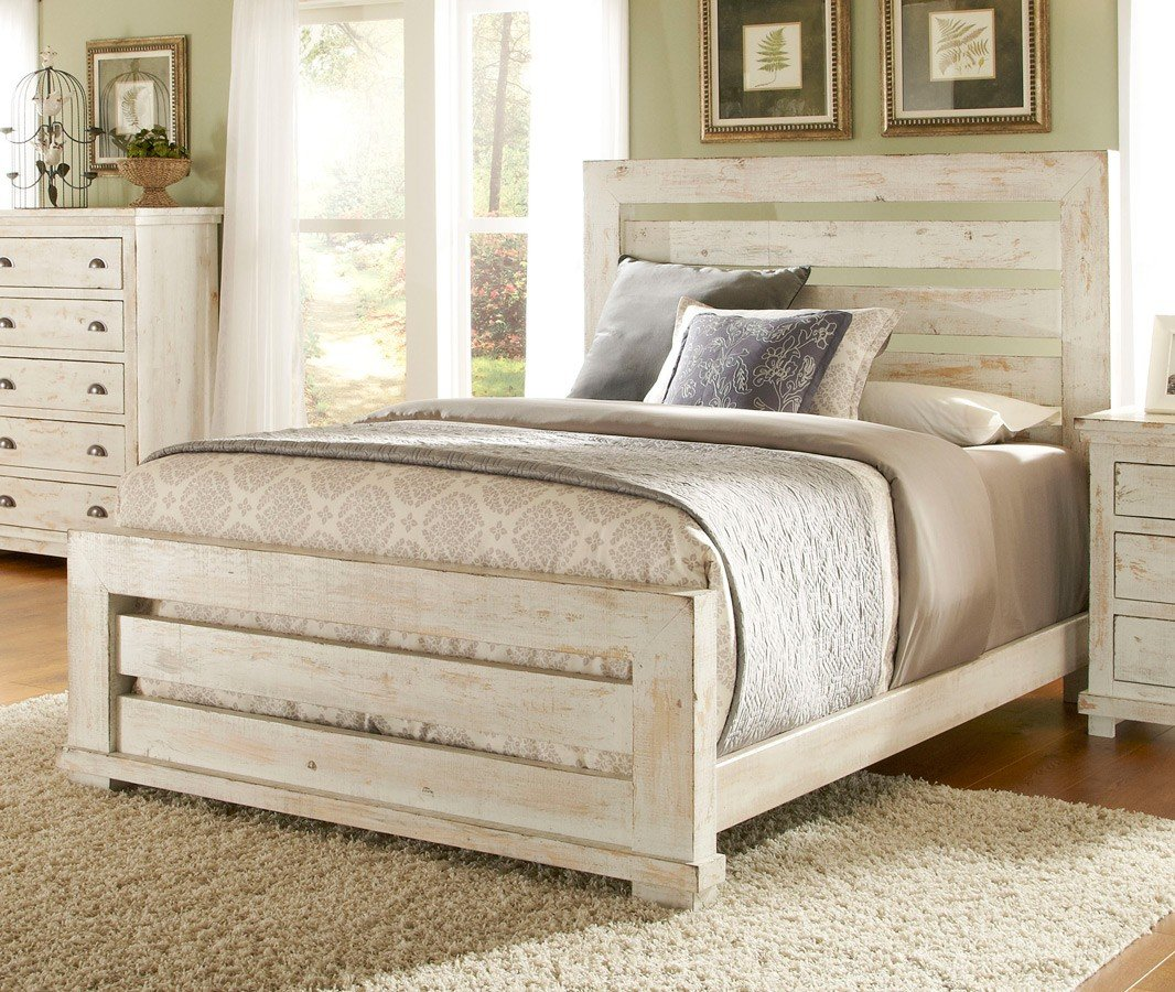 Willow Slat Bed (Distressed White)