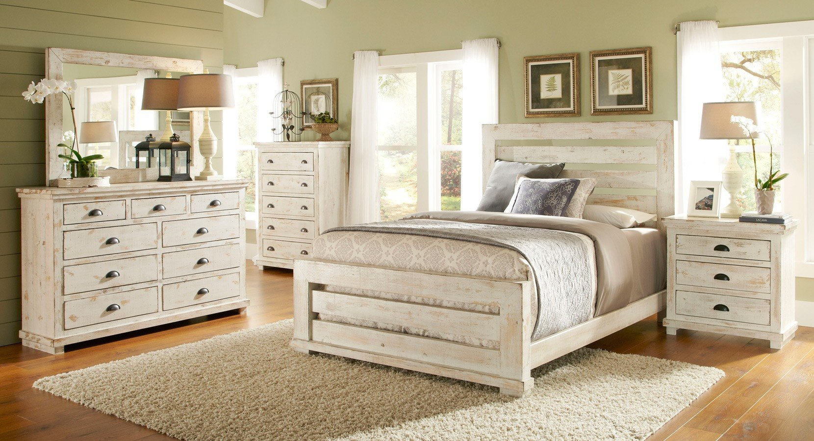 Willow slat bedroom set distressed white progressive - White vintage bedroom furniture sets ...