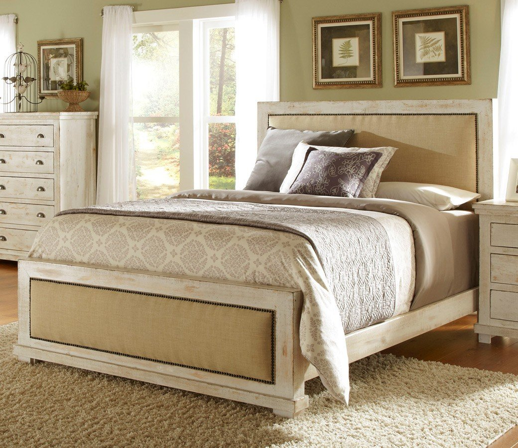 Willow Upholstered Bed (Distressed White)