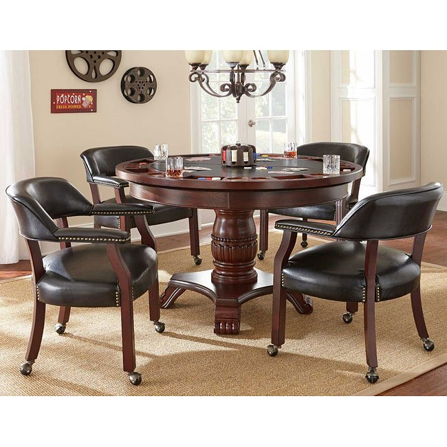 Tournament Game Table Set w/ Black Chairs