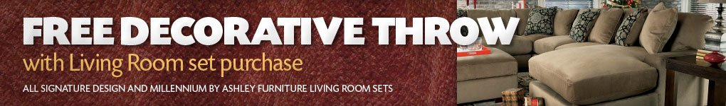Free Decorative Throw with Living Room Set purchase.